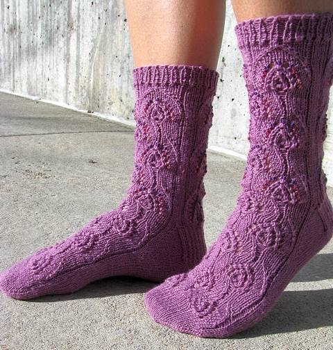 Beaded Peacock Socks - side