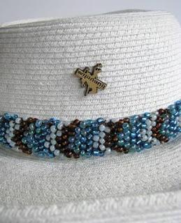 Chevron Bead Knitting Headband - detail