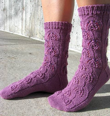 Beaded Peacock Socks - solid color