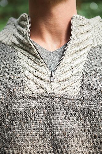 Men's Staghorn Waffle Sweater - Zipper Panel